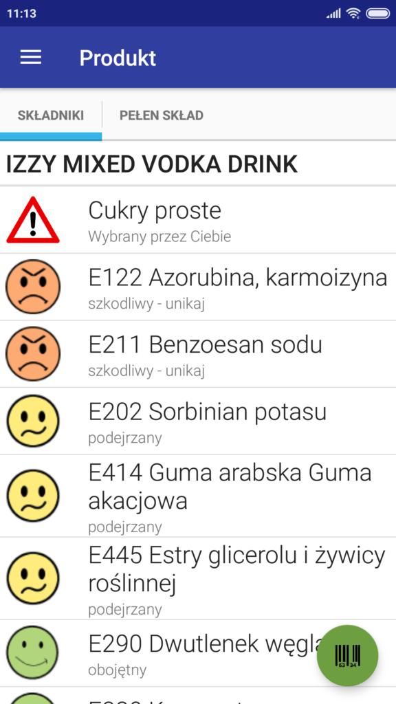 skład izzy cosmopolitan drink z biedronki